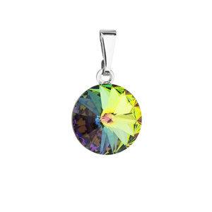 Evolution Group Přívěsek bižuterie se Swarovski krystaly zelený kulatý 54001.5
