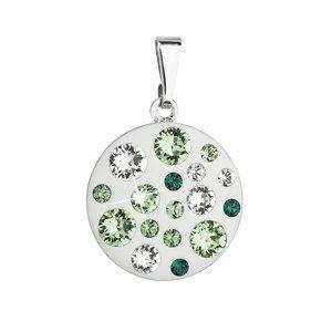 Evolution Group Přívěsek bižuterie se Swarovski krystaly zelený kulatý 54022.3