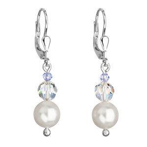 Evolution Group Stříbrné náušnice visací s perlou Swarovskibílé kulaté 71005.1, dárkové balení