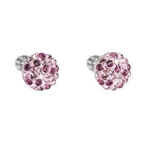 Evolution Group Stříbrné náušnice visací s krystaly Swarovski růžové 71007.3, dárkové balení