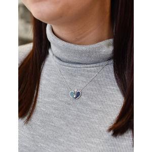 Evolution Group Stříbrný náhrdelník s krystaly modré srdce 72019, dárkové balení