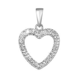 Evolution Group Stříbrný přívěsek s krystaly Swarovski bílé srdce 74074.1, dárkové balení