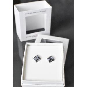 Evolution Group Stříbrné náušnice pecka s krystaly Swarovski šedý kosočtverec 71098.3, dárkové balení