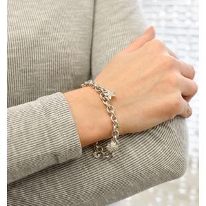 Evolution Group Stříbrný náramek s krystaly Swarovski a přívěsky 73032.1, dárkové balení