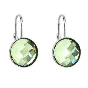 Evolution Group Stříbrné náušnice visací s krystaly Swarovski zelené kulaté 31290.3, dárkové balení