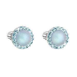Evolution Group Stříbrné náušnice pecka s krystaly Swarovski a světlemodrou matnou perlou kulaté 31314.3, dárkové balení