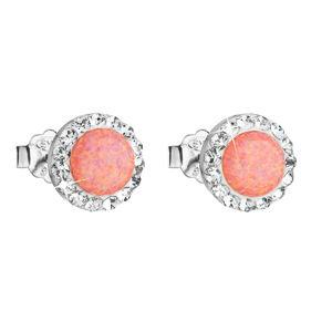 Evolution Group Stříbrné náušnice pecky se syntetickým opálem a krystaly Swarovski oranžové kulaté 31217.1, dárkové balení