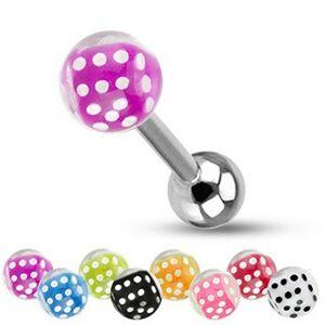 Barbell do jazyka z oceli, stříbrná barva, kuličky, barevné hrací kostky - Barva piercing: Modrá