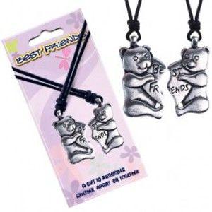 BEST FRIENDS šňůrkové náhrdelníky, méďové, srdce AA46.14