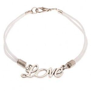 """Bílý šňůrkový náramek, ozdobný nápis """"Love"""" stříbrné barvy SP46.15"""