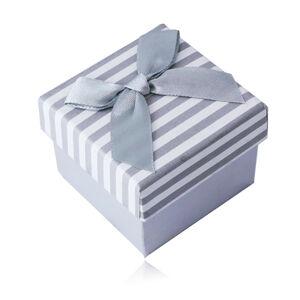 Bílo-šedá dárková krabička na prsten nebo náušnice - proužkovaný vzor s mašličkou
