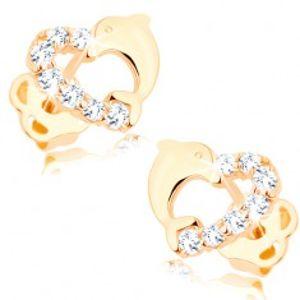Briliantové zlaté náušnice 585 - obrys srdíčka s linií diamantů a s delfínem BT503.44
