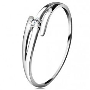 Briliantový prsten z bílého 14K zlata - rozdělená zvlněná ramena, čirý diamant BT181.23/29/503.23/27
