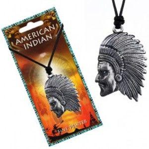 Černý náhrdelník - šňůrka a lesklý kovový přívěsek Indiána P3.3