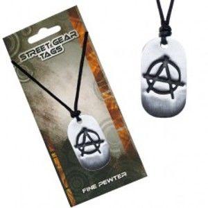Černý náhrdelník, lesklá kovová známka, symbol anarchie S4.13