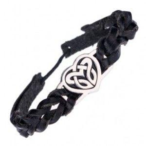 Černý náramek a kovová známka se srdcovým keltským uzlem P2.6