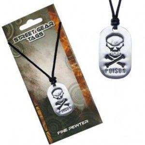 Černý šňůrkový náhrdelník s přívěskem lebky a nápisem S4.19