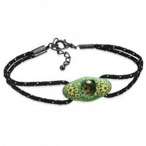 Černý šňůrkový náramek, zelený oválný FIMO korálek, žluté květy AA21.13/AA37.04