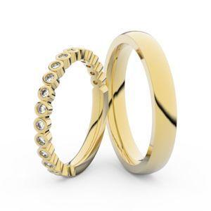 Snubní prsteny ze žlutého zlata s brilianty, pár - 3899