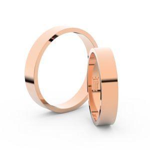 Snubní prsteny z růžového zlata, 4 mm, plochý, pár - 1G40