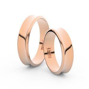 Snubní prsteny z růžového zlata, 5 mm, konkávní, pár - 5A50