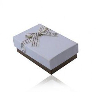 Dárková krabička s mašlí na set nebo náhrdelník - bílohnědá kombinace Y16.11