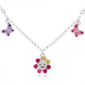 Dětský náhrdelník ze stříbra 925, kvítek a dva motýlci SP44.26