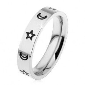 Dětský prsten z chirurgické oceli, gravírované kontury hvězd a měsíců H4.05