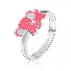 Dětský stříbrný prsten 925 - růžový slon AB21.12