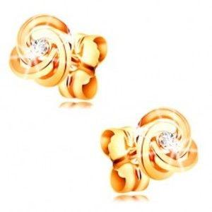 Diamantové náušnice ze žlutého zlata 585 - uzel ze tří prstenců, čirý briliant BT502.28