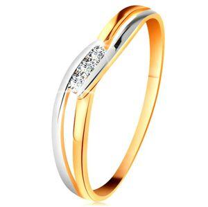 Diamantový prsten ze 14K zlata, tři čiré brilianty, rozdělená zvlněná ramena - Velikost: 54