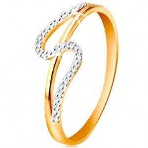 Diamantový prsten ze 14K zlata, rovné a zvlněné rameno, drobné čiré diamanty BT500.02/07