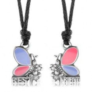 Dva náhrdelníky pro přátele, růžovo-fialoví motýli, kvítky, BEST FRIEND S56.14