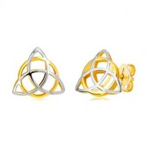 Dvoubarevné náušnice ve 14K zlatě - trojcípý keltský uzel s kruhem GG20.25