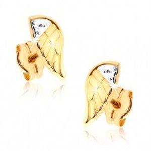 Dvoubarevné rhodiované náušnice v 9K zlatě - gravírované andělské křídlo GG37.05