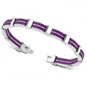 Dvoubarevný náramek z oceli - vícedílné články, pryžové pásky fialové barvy SP24.14