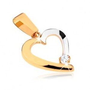 Dvoubarevný přívěsek v 9K zlatě - obrys nesouměrného srdce, čirý kamínek GG32.11