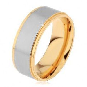 Dvoubarevný prsten z chirurgické oceli, vyvýšený matný pás stříbrné barvy, 8 mm H7.05