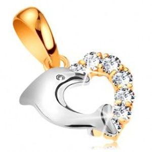 Dvoubarevný zlatý přívěsek 585 - srdce se zirkony a s delfínem z bílého zlata GG188.58