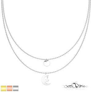 Dvojitý náhrdelník z chirurgické oceli - medailon, měsíc a hvězda, PVD, karabinka - Barva: Zlatá