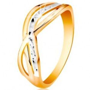 Dvoubarevný prsten ve 14K zlatě - zvlněné a rozvětvené linie ramen, rýhy GG192.59/67