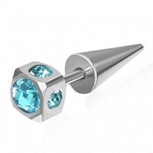 Falešný expandr z oceli - kostka, vsazené světle modré zirkony W02.23