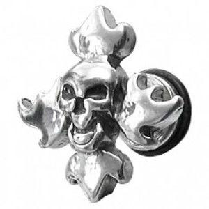 Falešný piercing lebka s plameny E11.18
