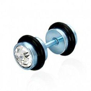 Falešný piercing modrý se zirkony E17.12