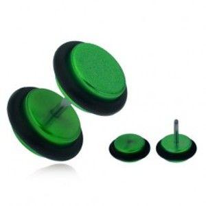 Falešný plug do ucha, lesklá zelená akrylová kolečka PC01.17