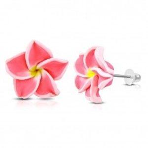FIMO náušnice, květ s neonově růžovými lupínky a žlutým středem AA16.22