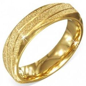 Hranatý ocelový prstýnek zlaté barvy, pískovaný se šikmými zářezy BB4.17