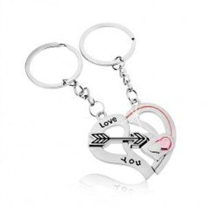 Klíčenky pro dvojici, stříbrná barva, dvě poloviny srdce, šíp, nápis Z10.12