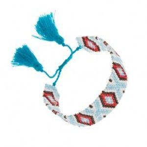 Korálkový náramek, indiánský vzor, světle modrá, bílá, černá, červená barva SP90.07