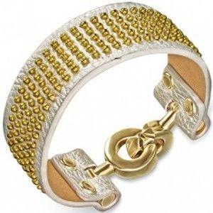 Kožený náramek - stříbrný se zlatými kuličkami a kruhovým zapínáním X37.18